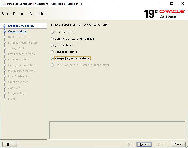 19c dbca - manage pluggable database