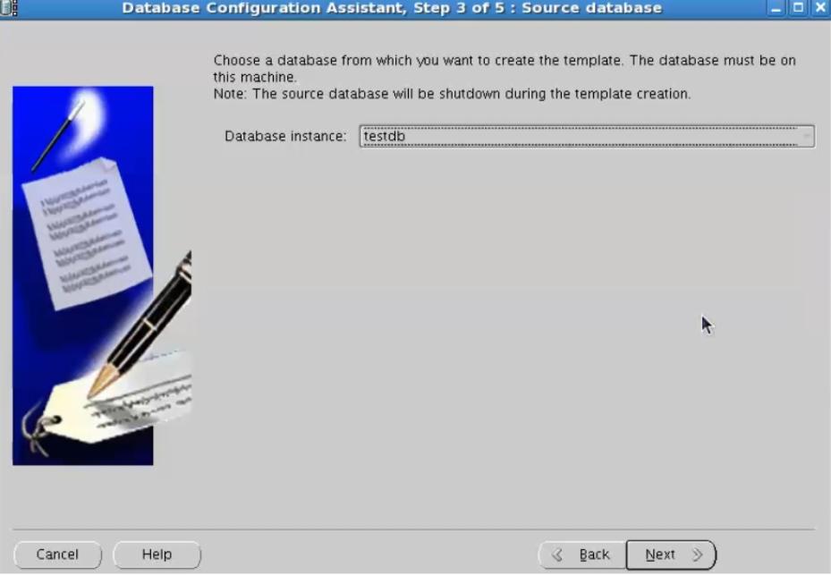 database configuration assistant - select database instance
