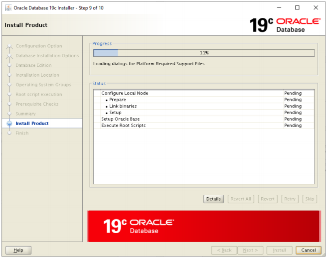 oracle database 19c installer - install product