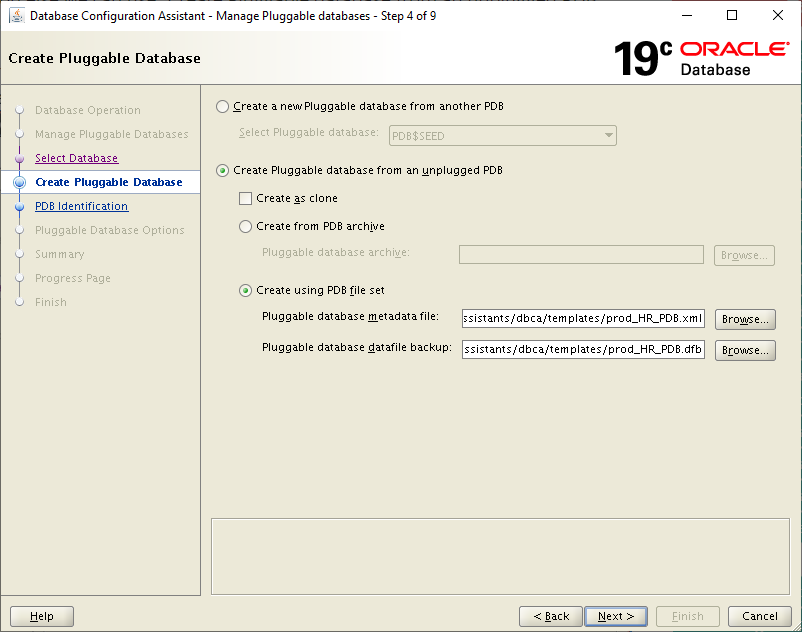 19c dbca - Create Pluggable Database from an unplugged pdb