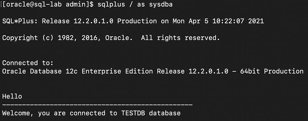 setup glogin.sql in oracle - testdb database