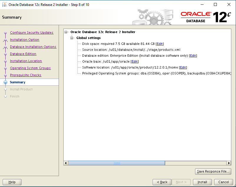 oracle-12c-install-summary