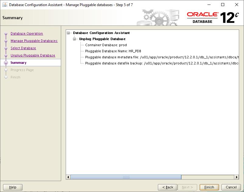 Database Configuration Assistant- Summary