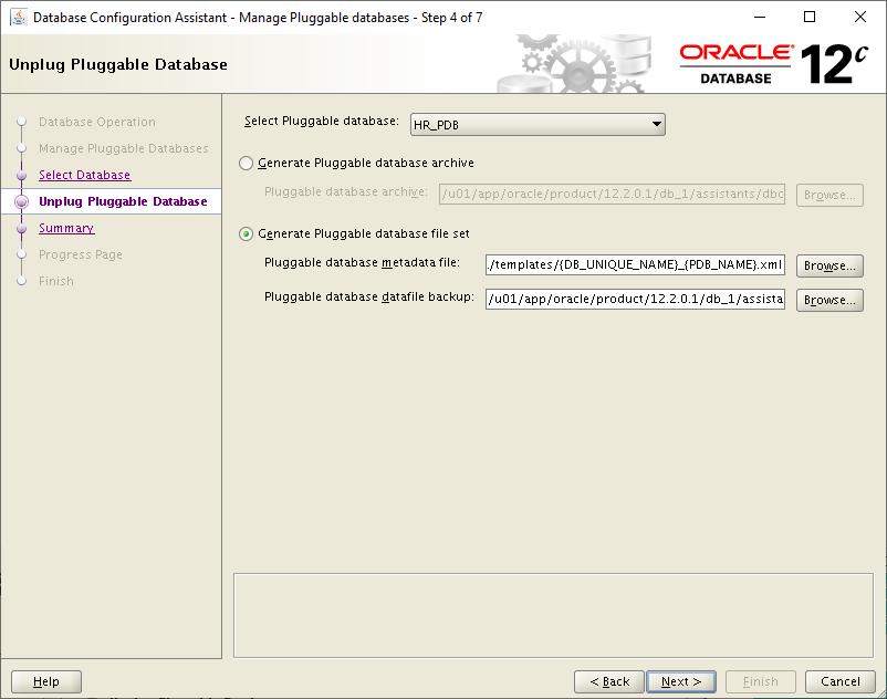 dbca Unplug Pluggable Database - generate pluggable database file set