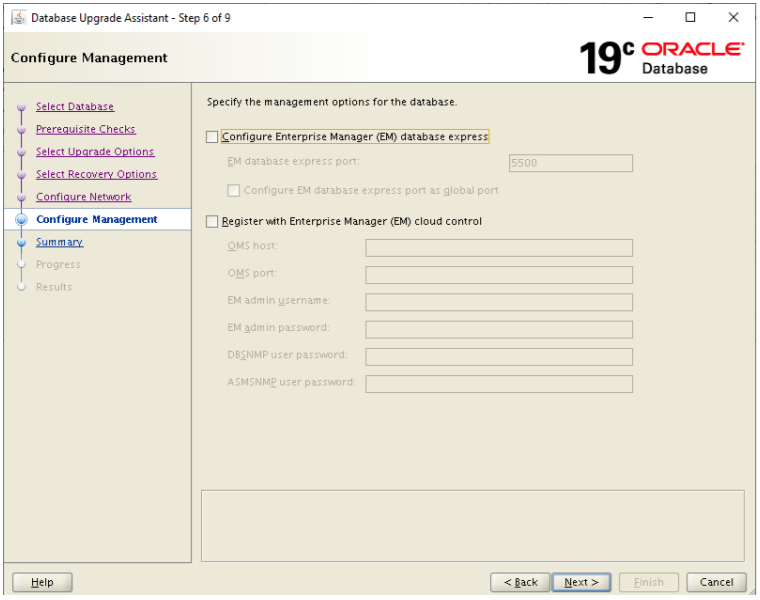 database upgrade assistant - configure management