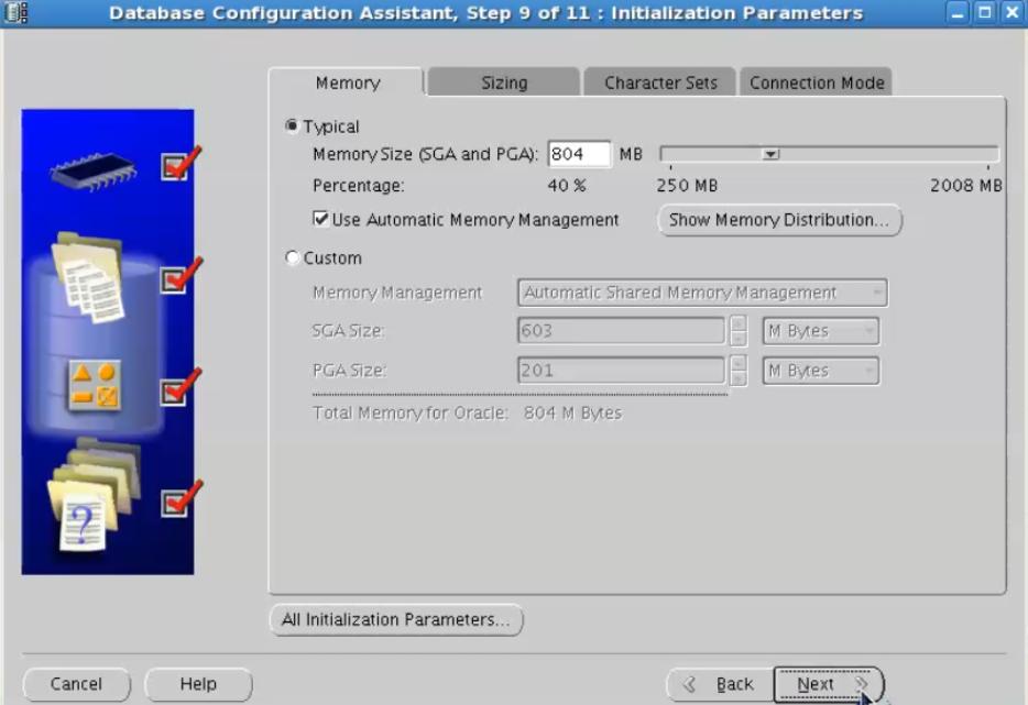 database configuration assistant - use automatic memory management