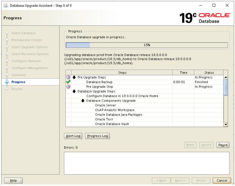 database upgrade assistant - oracle database upgrade in progress