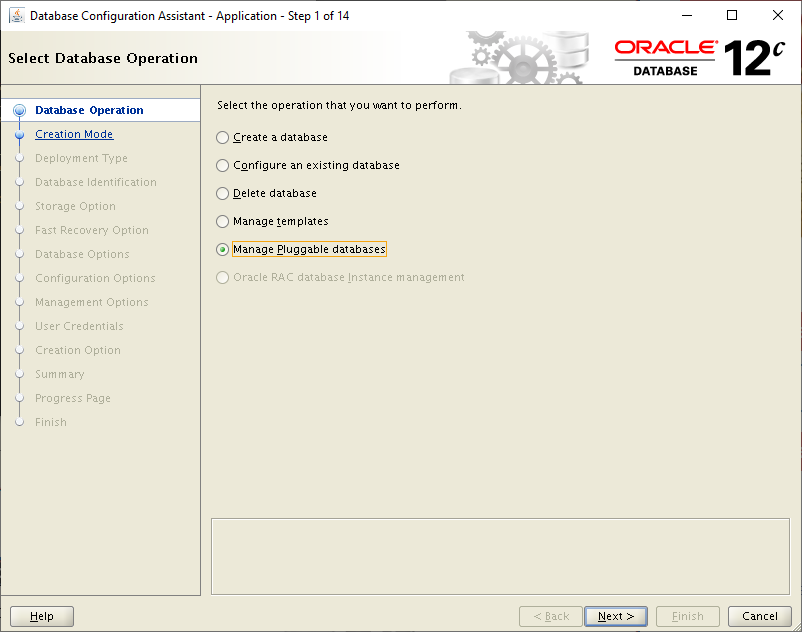 database configuration assistant application - manage pluggable databases