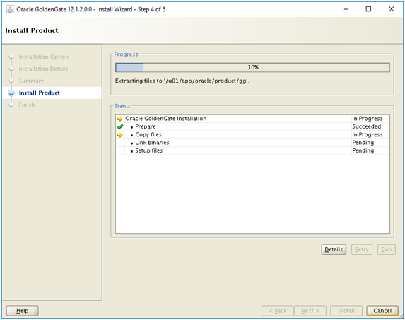 install golden gate - oracle goldengate install product