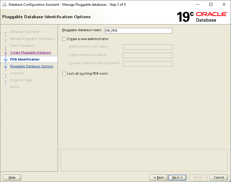 19c dbca - pluggable database identification options