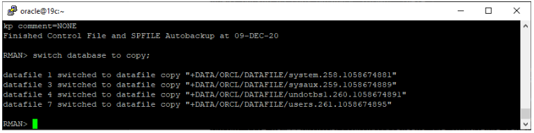oracle non-asm to asm migration - switch database to copy
