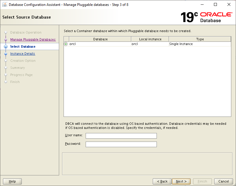 19c dbca - dbca select container database