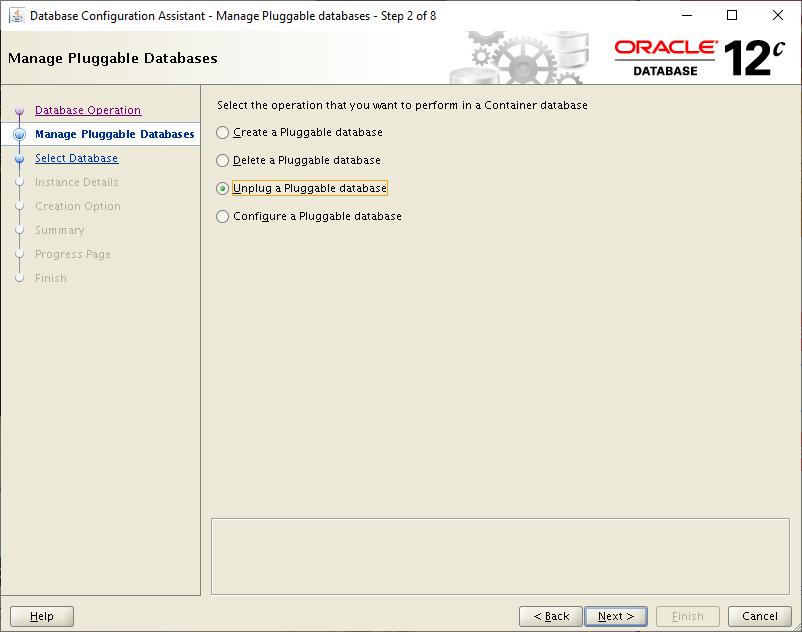 database configuration assistant - unplug a pluggable database
