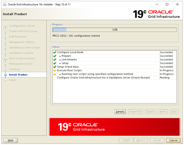 oracle grid infrastructure 19c installer - install product