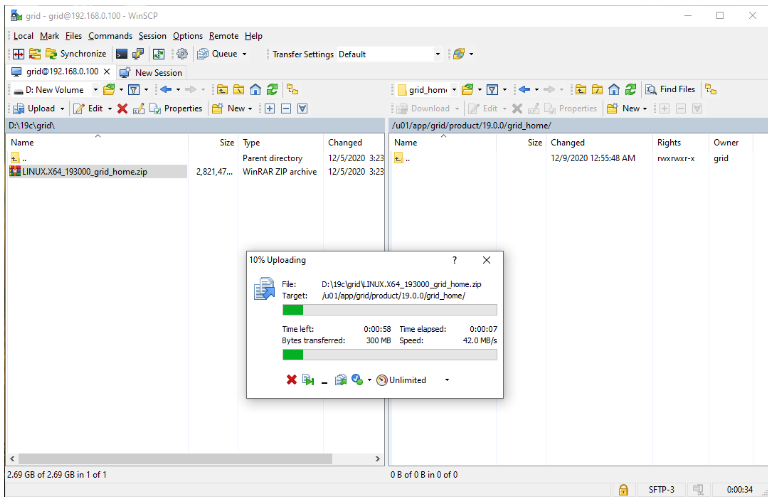 oracle non-asm to asm migration - copy oracle 19c grid software from windows to linux using winscp