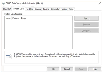odbc data source administrator - system data sources