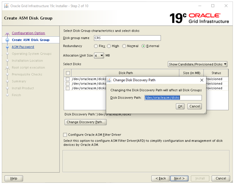 oracle grid infrastructure 19c installer- change disk discovery path