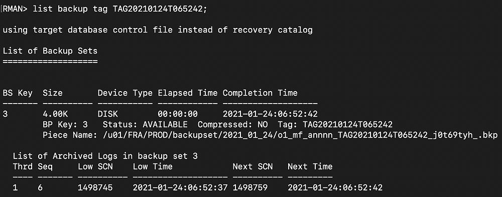 rman duplicate database pitr - rman list third backup tag
