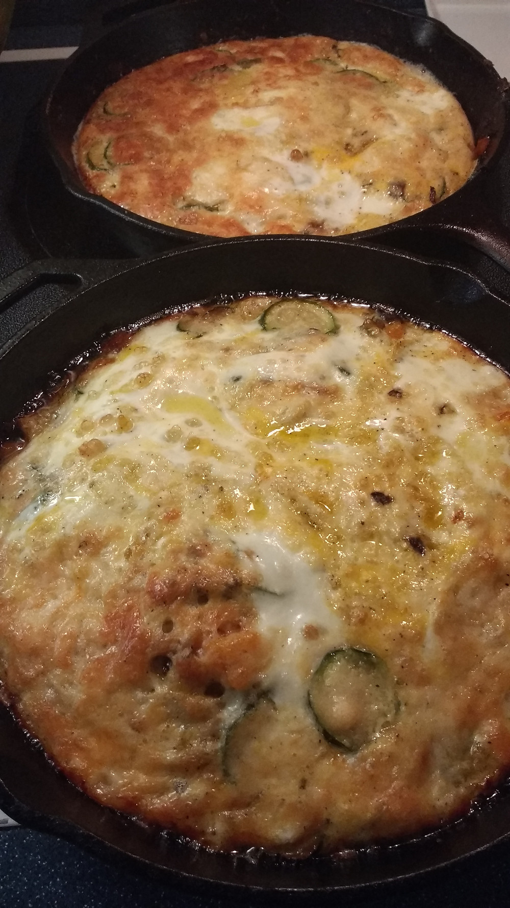 Baked, crustless quiche with summer squash, orange bell pepper and bella mushrooms