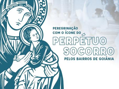 Peregrinação com o ícone do Perpétuo Socorro pelos bairros em Goiânia.