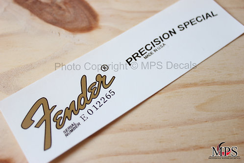 Fender Precision Bass Special Guitar Headstock Waterslide Decal