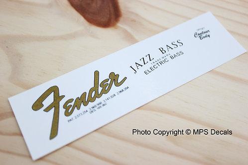 Fender Jazz 1960s Bass Guitar Headstock Waterslide Decal