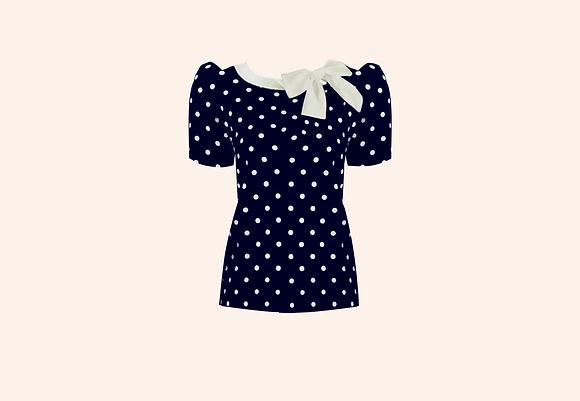 Jersey Lolita blue  dots short sleeve