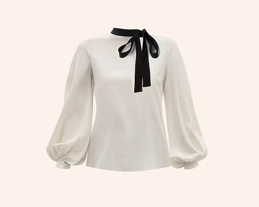 Blusa Bow White & black  long sleeve