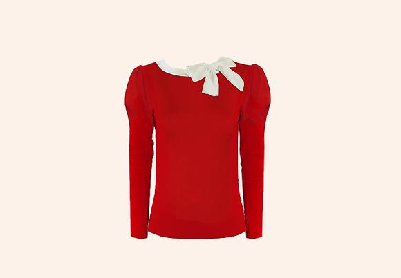 Jersey Lolita Red & ivory long sleeve