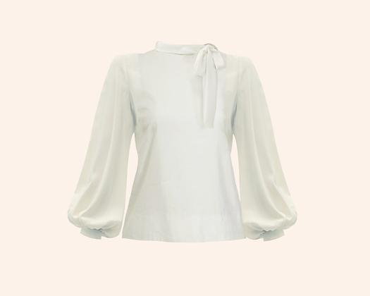 Blusa Bow White long sleeve