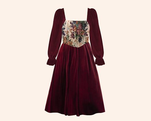 Vestido Velvet Forest Burgundy