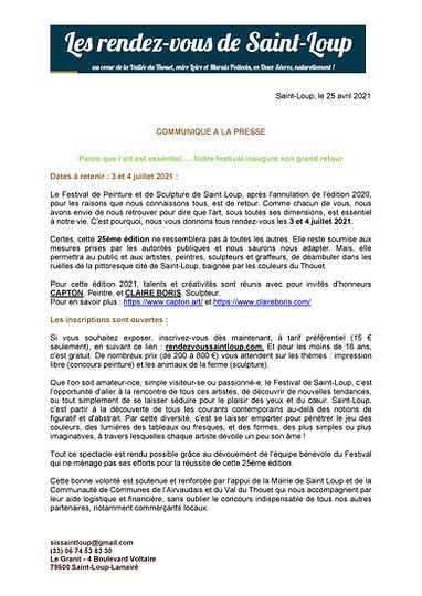 COMMUNIQUE A LA PRESSE projet festival 3