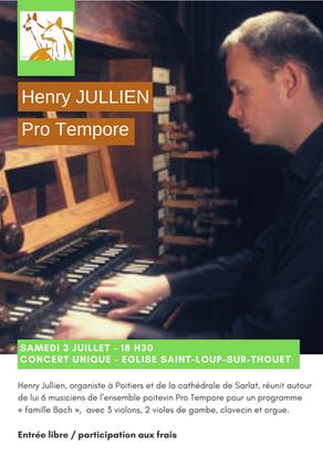 Concert unique 3 juillet avec Henry Jullien