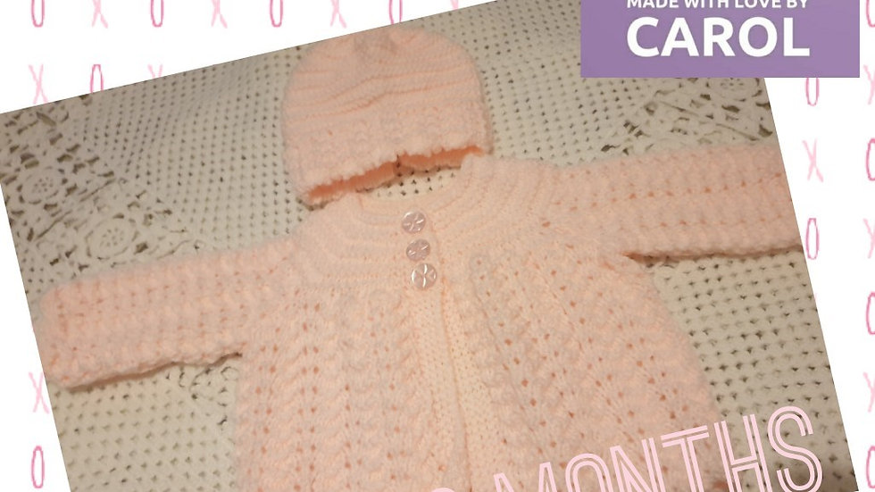 Stunning Baby Pink Cardigan with Matching Hat age 0-3 Months