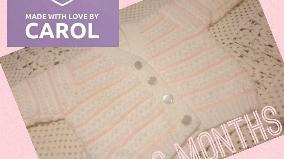 Beautiful Hand-knitted White and Baby Pink Stripe Cardigan age 3-6 months