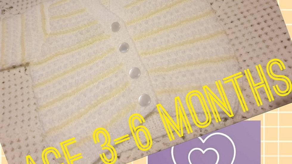 Unisex White and Lemon Stripe Cardigan age 3-6 Months