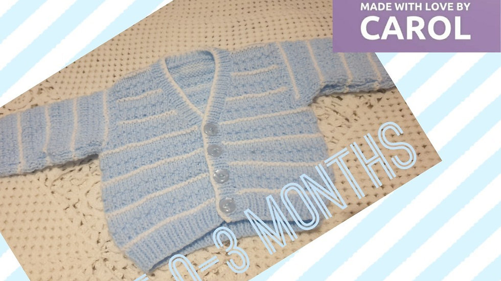 Gorgeous Hand-knitted Blue and White Stripe Cardigan age 0-3 Months