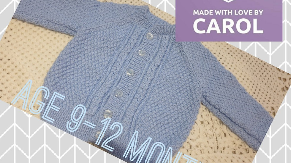 Gorgeous Hand-knitted Blue Cardigan age 9-12 Months