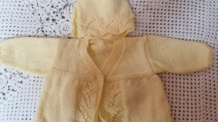 Lemon Matinee Style Cardigan with Matching Bonnet