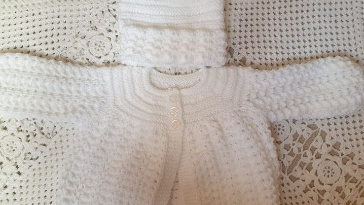 White Matinee Style Cardigan with Matching Hat