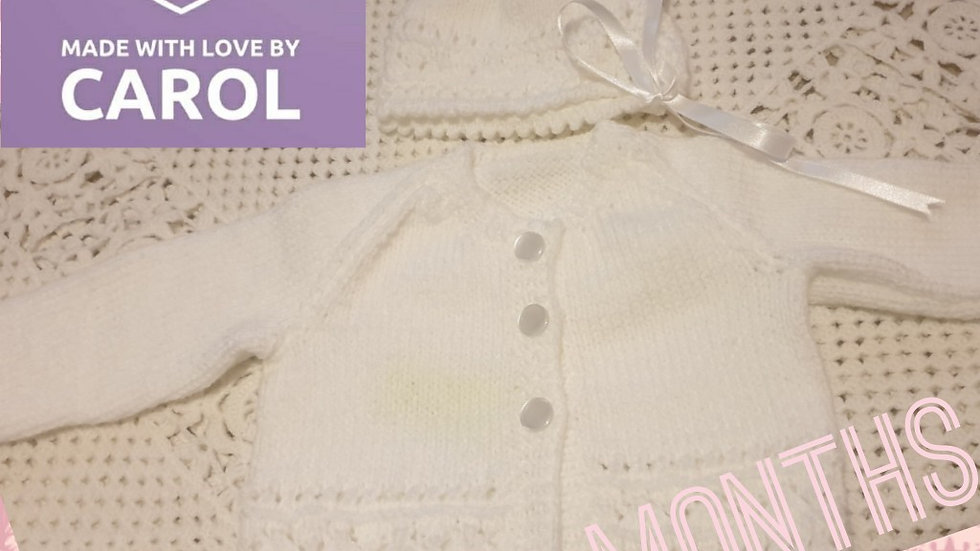 Elegant Hand-knitted White Cardigan with Matching Bonnet age 0-3 Months
