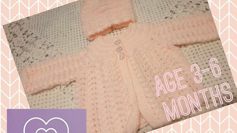 Stunning Baby Pink Cardigan with Matching Hat age 3-6 Months