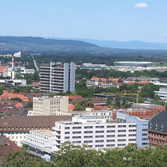 View over the Chemistry building and the new SC Freiburg stadium