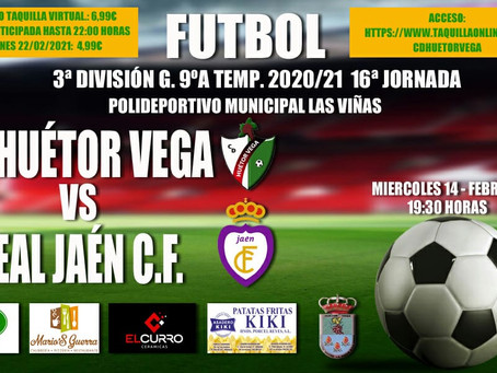 """El CD Huétor Vega - Real Jaén en """"exclusiva"""" en www.taquillaonline.com/cdhuetorvega"""