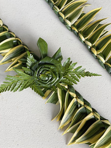 Song of India Green Lei with Ti-Leaf Rose