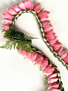 Song of India Pink Ginger Lei with Ti-Leaf Rose