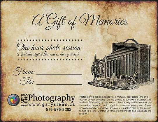 1 Hour Family Photo Session Gift Certificate