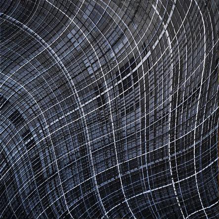 Déformation de l'espace en nuances de gris.