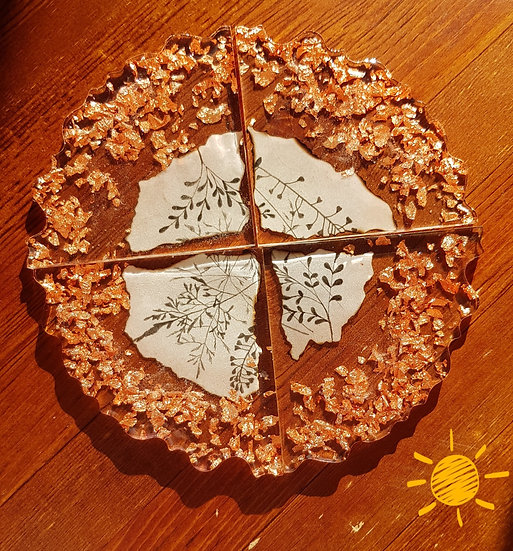 Copper flakes  - 4 coaster set