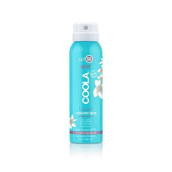Coola Sport SPF 50 Unscented Organic Sunscreen Spray - Travel Size